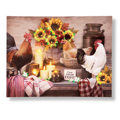 Country rooster and hen farm lighted wall canvas art by collections etc