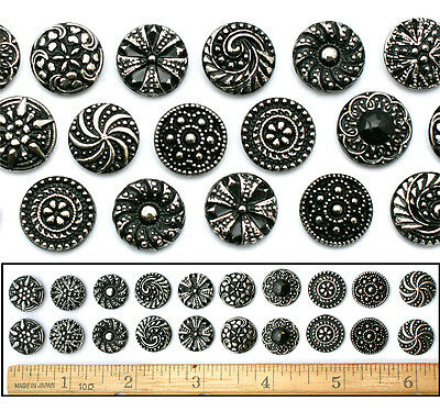 14mm Czech Glass BLACK + SILVER SHANKLESS No Shank Cabochon Buttons 20pc 10PAIRS
