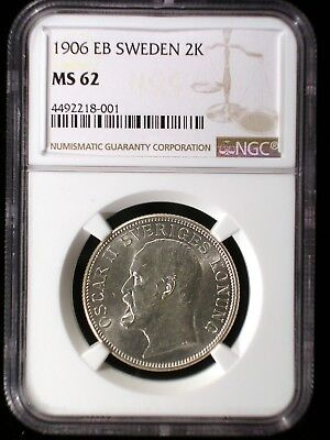 Sweden 1906 2 Kronor *NGC MS-62* Scarce Low Mintage 2 Year Type Looks Better