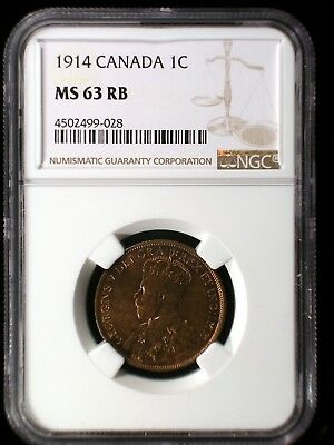 Canada 1914 Large Cent *NGC MS-63 RB* .01 Looks Great Low Minimum