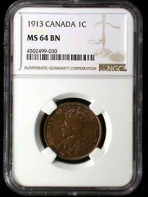 Canada 1913 Large Cent *NGC MS-64 BN* .01 Looks Great Low Minimum