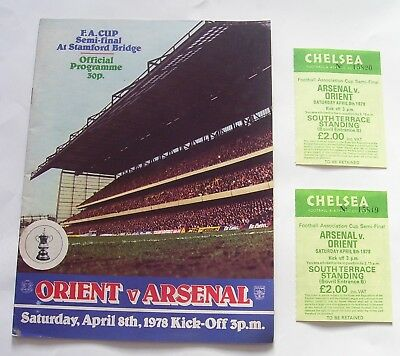 1978 - ORIENT v ARSENAL - F.A.CUP SEMI FINAL + 2 TICKETS