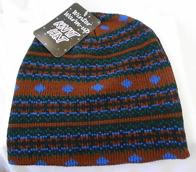 KIDS/TODDLER Winter Warm-Up BROWN/BLUE Knit Cap Beanie HAT One Size NWT