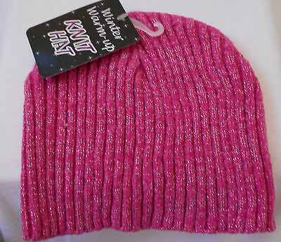 BABY/TODDLER Winter Warm-Up PINK SPARKLE Knit Cap Beanie HAT One Size NWT