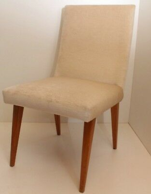 Dining Room Chair Wooden Chair Padded samtiger Fabric Cream 50er Vintage Springs