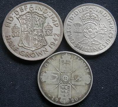 Great Britain, 3 Old Silver Coins: 1/2 Crown 1942, 2 Shillings 1943, Florin 1920