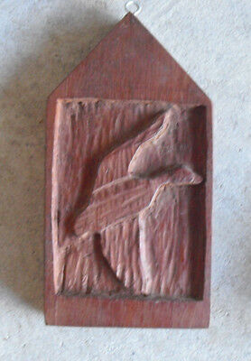 "Vintage Hand Carved Wood Flying Mallard Wall Hanging 7 1/2"" Tall"