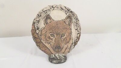 Signed Vintage North American Wolf on Stand Plaque