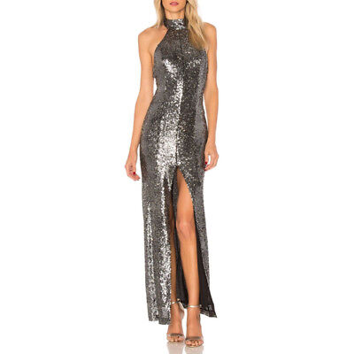 283297a343 Sexy Women's Shiny Silver Sequins Long Formal Party Evening Maxi Dress High  Slit