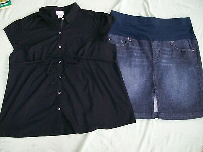 """oh Baby"" By Motherhood 2-Pc Maternity Outfit-Denim Skirt And Blk Blouse-Size Xl"