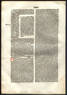 Bible Leaf 1497 Incunable Koberger Deuteronomy 33 Law Given to Israel in Love
