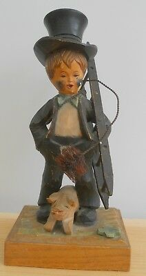 """Vintage Anri Carved Wooden Figurine Of Chimney Sweep With Pig ~ 6.5"""" Tall"""
