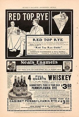 Ferdinand Westheimer Red Top Rye 5 Ad Lot-1901,1902,1903