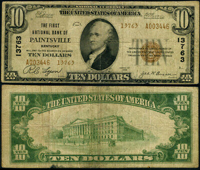 Paintsville KY $10 1929 Ty 2 National Bank Note Ch #13763 FNB Fine