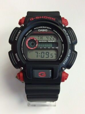 CASIO G-SHOCK Men's Black Resin Red Accents 200M Digital WATCH DW9052-1C4