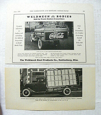 "(2X)1928,june Carbonator & Bottler Jrl~ ""coca-Cola"" Weldmech & Schmidt Trucks"