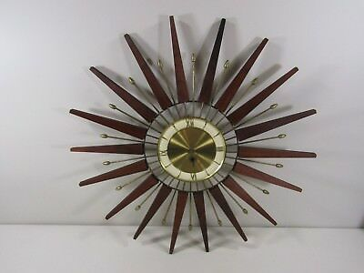Made in France Mid Century Key Wind Up Starburst Sunburst Wood Metal Wall Clock