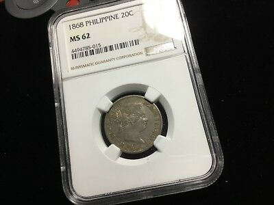 Ngc 1868 Ms 62 Spain Philippines Twenty 20 Centimos Silver 40685