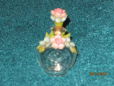 Vintage Hand blown Perfume Bottle Miniature w Tiny Shell Flowers & Glass Dabber