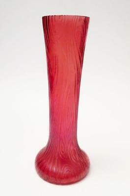 Stunning Antique Loetz Pink Rosa Iridescent Art Glass Vase Tree Bark Texture