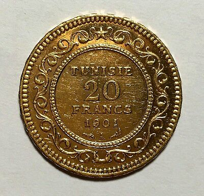 1901-A Tunisia 20 Franc Gold Coin  (.1867 AGW) -1c Start NO RESERVE!-