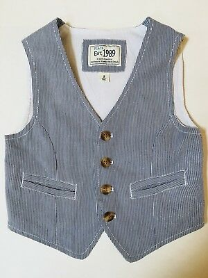 The Childrens Place Sz 5 5t Blue White Ticking Striped Suit Dress Vest EUC