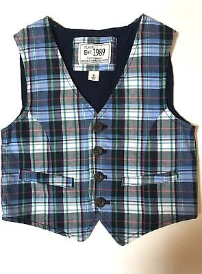 The Childrens Place Sz 5 5t Blue Plaid Suit Vest Easter 🐣