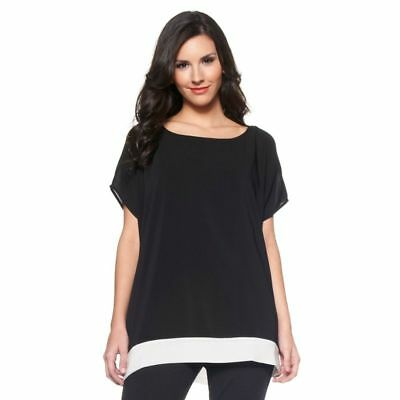 DKNYC Chiffon Slvless Camisole Cami Blouse Short Slv Solid Black L NEW 159-618