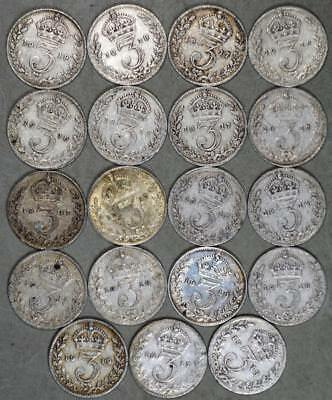 Great Britain 3 Pence Lot of 19 Silver Coins - Date Range 1912-1919