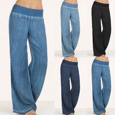 AU Women Elastic Waist Wide Leg Pants Faux Denim Palazzo Harem Jeans Trousers 20