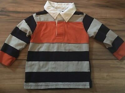 Gymboree Boys Long Sleeve Polo Shirt Size 12-18 Months Blue Orange Gray