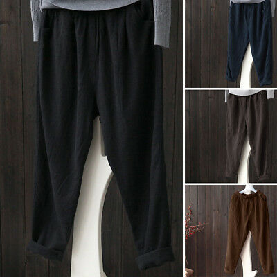 ZANZEA 8-24 Women Casual Elastic High Waist Pants Long Plus Size Cotton Trousers