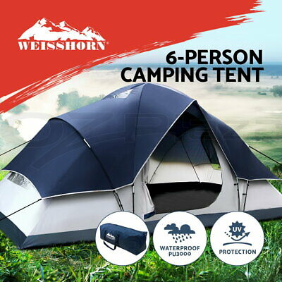 WEISSHORN 2-4 Person Camping Tent Dome Canvas Swag Hiking Beach Double Layer