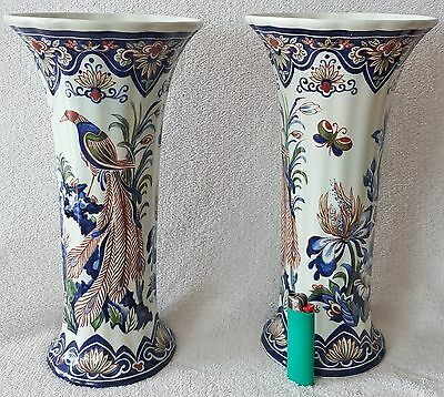 Polychrome Vases Hand Worked Vieux Rhodes Boch Belgium Matching Pair 31cms High