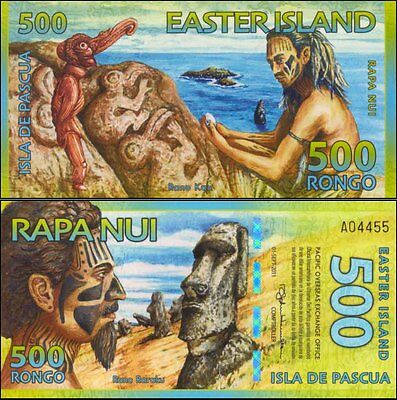 Easter Island $500R First Prefix A 04442 Statues Commemorative Polymer Banknote