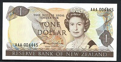 New Zealand 1st Prefix $1 AAA 004445 QE2 Redesign Hardie II Banknote Issue p169a
