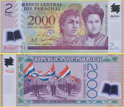 Paraguay Mint A First Prefix 2000 Pesos Polymer Banknote variety Issue P228