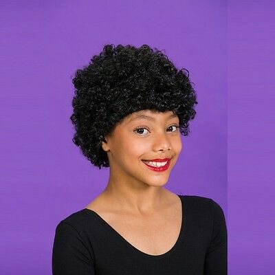Childs Black Afro Curly Wig - 1970's Fancy Dress