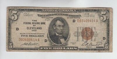 Federal Reserve Note FRBN $5 1929 vg-fine stains