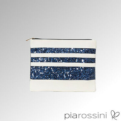 Pia Rossini Make Up Bag Milos Sequined Striped  Ivory/Navy (MIL00175)