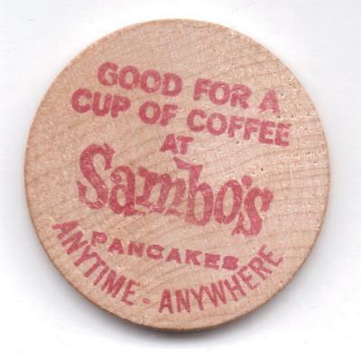 Sambo's-Anytime-Anywhere-Eureka-Wooden Nickel-One 1/2 Inches Width-Vintage
