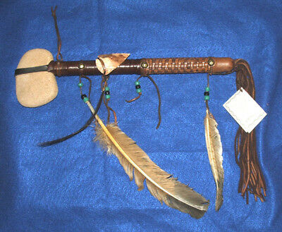 "Native American Stone War Club 13"" length Woven Leather handle & Arrowheads NL07"