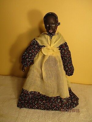 "14"" porcelain black Mammy doll dressed unmarked"