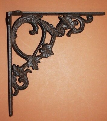 "(2) Large Decorative Cast Iron Shelf Brackets Ornate Curls Design, 9 3/8"". B-37"