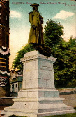 Postcard Roxbury Mass. Statue of Joseph Warren US 616