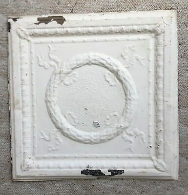 "1890's 24"" x 24"" Antique Reclaimed Tin Ceiling Tile White 164-18 Anniversary"