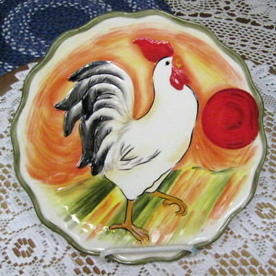 "Fitz & Floyd Rooster  9 "" Scalloped Edge Canape Plate Wall Hang Chanteclair New"