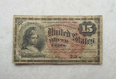 US Fractional Currency 15-Cent Note 4th Issue VERY GOOD+