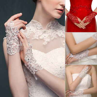 1pair Fashion Women Bridal Evening Wedding Party Costume Lace Gloves