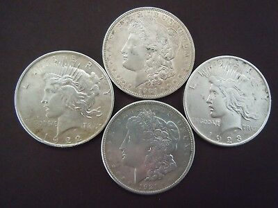 Silver Dollars; Mixed Dates, (2) 1921 Morgan, 1922 Peace And 1923 Peace